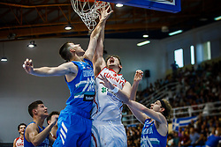 Malovcic Alen of Slovenia vs Sengun Alperen of Turkey  during basketball match between National teams of Turkey and Slovenia in the SemiFinal of FIBA U18 European Championship 2019, on August 3, 2019 in Nea Ionia Hall, Volos, Greece. Photo by Vid Ponikvar / Sportida