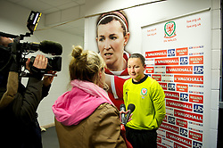 LLANELLI, WALES - Saturday, September 15, 2012: Wales' goalkeeper Nicola Davies is interviewed by BBC's Cathy Williams after the 2-1 defeat by Scotland during the UEFA Women's Euro 2013 Qualifying Group 4 match at Parc y Scarlets. (Pic by David Rawcliffe/Propaganda)