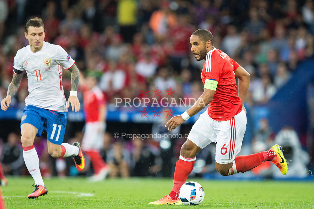 TOULOUSE, FRANCE - Monday, June 20, 2016: Wales' Ashley Williams during the final Group B UEFA Euro 2016 Championship match against Russia at Stadium de Toulouse. (Pic by Paul Greenwood/Propaganda)