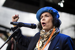 November 12, 2016 - Manchester, England, United Kingdom - Human Rights advocate and former actress BIANCA JAGGER speaks at a rally in Castlefield. Approximately 2000 people march and rally against Fracking in Manchester City Centre. (Credit Image: © Joel Goodman/London News Pictures via ZUMA Wire)