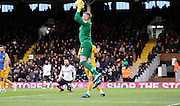 Jordan Pickford collects safely during the Sky Bet Championship match between Fulham and Preston North End at Craven Cottage, London, England on 28 November 2015. Photo by Pete Burns.