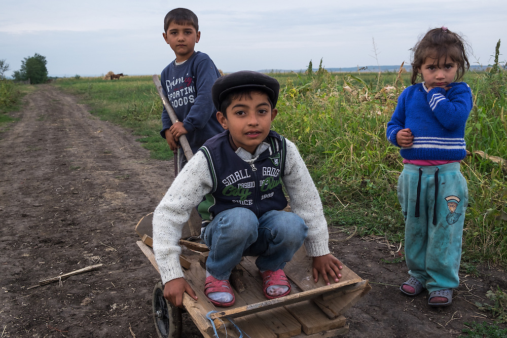 Roma children playing in the village of Dimacheni in Botosani County