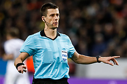 November 21, 2018 - Stockholm, Sweden - Referee Benoit Bastien gestures during the UEFA Nations League B Group 2 match between Sweden and Russia on November 20, 2018 at Friends Arena in Stockholm, Sweden. (Credit Image: © Mike Kireev/NurPhoto via ZUMA Press)