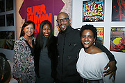l to r: Tina Anderson, Nia Andrews, Common and Keyatta Bynum at the Common Celebration for the Capsule Line Launch with Softwear by Microsoft at Skylight Studios on December 3, 2008 in New York City..Microsoft celebrates the launch of a limited-edition capsule collection of SOFTWEAR by Microsoft graphic tees designed by Common. The t-shirt  designs. inspired by the 1980's when both Microsoft and and Hip Hop really came of age, include iconography that depicts shared principles of the technology company and the Hip Hop Star.