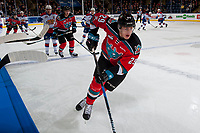 KELOWNA, CANADA - NOVEMBER 14: Nolan Foote #29 of the Kelowna Rockets skates along the boards against the Edmonton Oil Kings on November 14, 2017 at Prospera Place in Kelowna, British Columbia, Canada.  (Photo by Marissa Baecker/Shoot the Breeze)  *** Local Caption ***