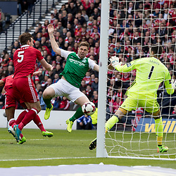 Grant Holt (Hibernian) scores his first goal  during the William Hill Scottish Cup semi-final between Hibernian and Aberdeen at Hampden Park Stadium on 22 April 2017.<br /> <br /> Picture: Alan Rennie