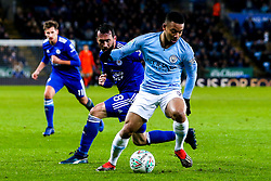 Gabriel Jesus of Manchester City takes on Christian Fuchs of Leicester City - Mandatory by-line: Robbie Stephenson/JMP - 18/12/2018 - FOOTBALL - King Power Stadium - Leicester, England - Leicester City v Manchester City - Carabao Cup Quarter Finals