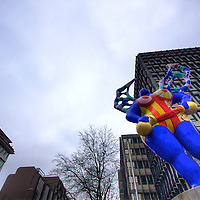 A modern-art blue lady statue in downtown Luxembourg City adds some color to the office building district