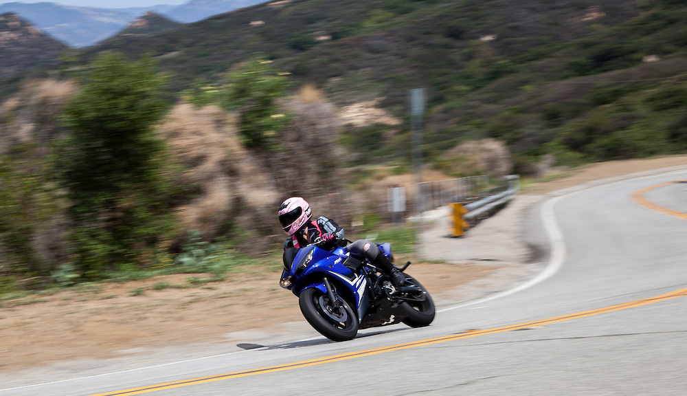 "Motorcycles and Cars navigating ""The Snake"" on the Mullholland Highway above Malibu."