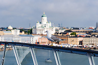 Finland, Helsinki. Seagull in front of the Helsinki Cathedral.