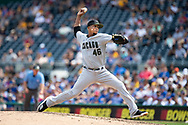 May 28, 2018 - Pittsburgh, PA, U.S. - PITTSBURGH, PA - MAY 28:   Chicago Cubs relief pitcher Pedro Strop (46) throws a pitch in the eighth inning during an MLB game between the Pittsburgh Pirates and Chicago Cubs on May 28, 2018 at PNC Park in Pittsburgh, PA. (Photo by Shelley Lipton/Icon Sportswire) (Credit Image: © Shelley Lipton/Icon SMI via ZUMA Press)