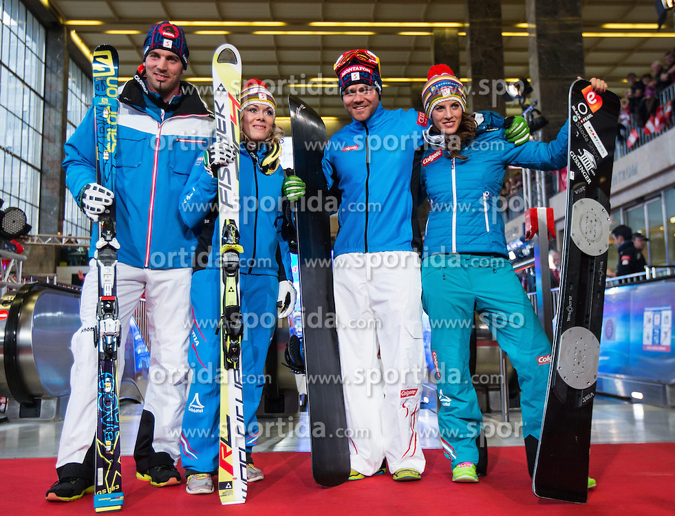10.10.2013, Westbahnhof, Wien, AUT, Praesentation der OeSV Winterkollektion, Modeschau, im Bild Andreas Matt, Andrea Limbacher, Markus Schairer, Julia Dujmovits // during Fashion Show of the Presentation of OeSV winter collection of Austrian Ski Federation OeSV at the west railway station in Vienna, Austria on 2013/10/10. EXPA Pictures © 2013, PhotoCredit: EXPA/ Johann Groder