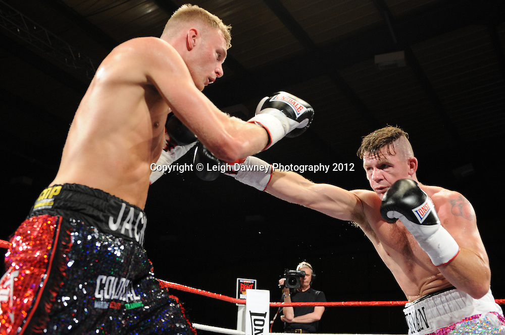 Jack Arnfield defeats Nicky Jenman in a 6x3 min Light Middleweight contest at the Bowlers Exhibition Centre, Manchester, on the 2nd June 2012. Frank Maloney Promotions © Leigh Dawney Photography 2012.