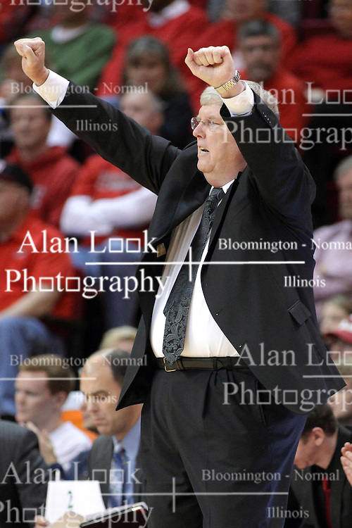 16 November 2014:  Stew Morrill during an NCAA non-conference game between the Utah State Aggies and the Illinois State Redbirds.  The Aggies win the competition 60-55 at Redbird Arena in Normal Illinois.