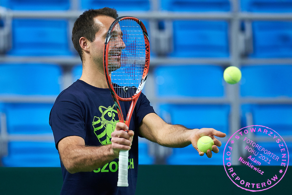 Trainer assistant Aleksander Charpantidis in action during training session two days before the Davies Cup / Group I Europe / Africa 1st round tennis match between Poland and Lithuania at Orlen Arena on March 4, 2015 in Plock, Poland<br /> Poland, Plock, March 4, 2015<br /> <br /> Picture also available in RAW (NEF) or TIFF format on special request.<br /> <br /> For editorial use only. Any commercial or promotional use requires permission.<br /> <br /> Mandatory credit:<br /> Photo by &copy; Adam Nurkiewicz / Mediasport