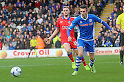 Matt Lund & Carl Winchester during the Sky Bet League 1 match between Rochdale and Oldham Athletic at Spotland, Rochdale, England on 24 October 2015. Photo by Daniel Youngs.
