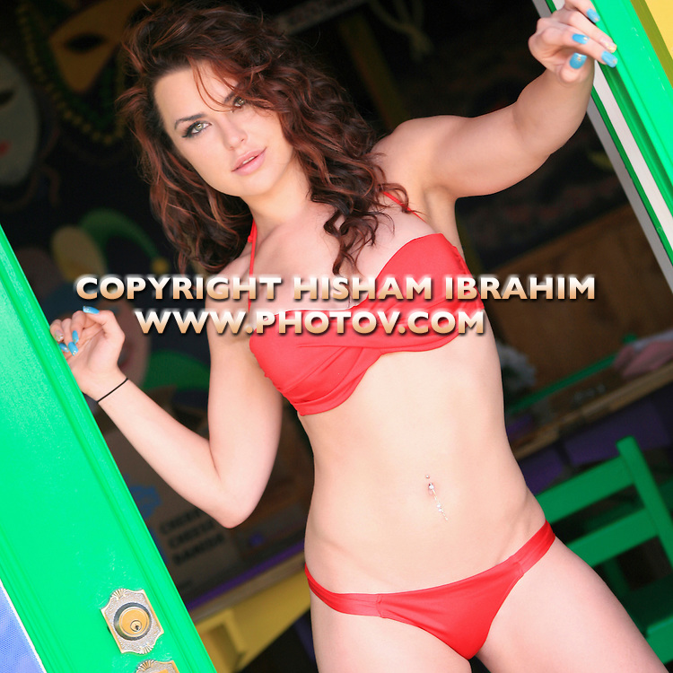 Sexy young Russian woman in red bikini, Freeport, Bahamas