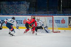 23.02.2018, Ice Rink, Znojmo, CZE, EBEL, HC Orli Znojmo vs Fehervar AV 19, Qualifikationsrunde, im Bild v.l. David Gilbert (Fehervar AV19) Tomas Plihal (HC Orli Znojmo) MacMillan Carruth (Fehervar AV19) // during the Erste Bank Icehockey League qualification round match between HC Orli Znojmo and Fehervar AV 19 at the Ice Rink in Znojmo, Czech Republic on 2018/02/23. EXPA Pictures © 2018, PhotoCredit: EXPA/ Rostislav Pfeffer