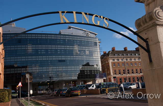 Kings College Hospital and Sign, London, UK