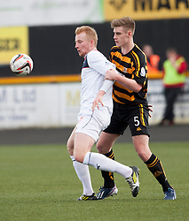 Falkirk's Mark Beck and Alloa Athletic's Liam Lindsay .<br /> half time : Alloa Athletic 0 v 0 Falkirk, Scottish Championship game played today at Alloa Athletic's home ground, Recreation Park.<br /> &copy; Michael Schofield.