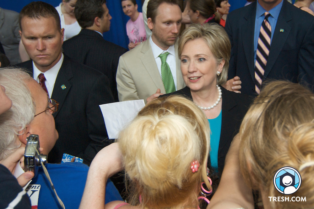 U.S. Senator Hillary Clinton greets supporters after conceding the race for the Democratic party's nomination for President of the United States of America to Barack Obama at the National Building Museum in Washington, D.C., Saturday, June 7, 2008.
