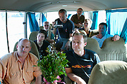 RIFT VALLEY, SHEWA/ETHIOPIA..Group of German journalists having a lecture about Qat while on the road Lake Langano - Addis Ababa..(Photo by Heimo Aga)