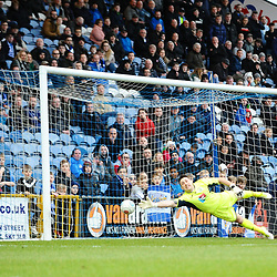 TELFORD COPYRIGHT MIKE SHERIDAN 16/2/2019 - GOAL. Brendan Daniels' free kick flies past Ben Hinchliffe of Stockport during the Vanarama Conference North fixture between Stockport County and AFC Telford United at Edgeley Park