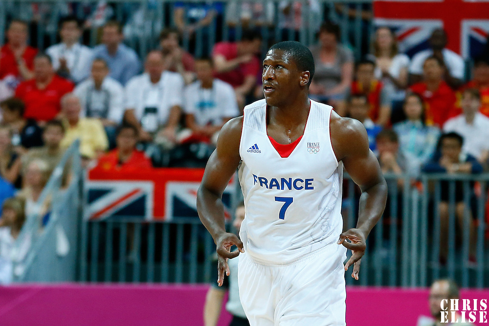 06 August 2012: France Yakhouba Diawara celebrates a three points shot made during 79-73 Team France victory over Team Nigeria, during the men's basketball preliminary, at the Basketball Arena, in London, Great Britain.