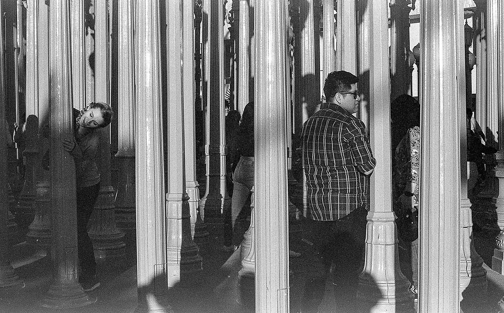 Visitors at the Los Angeles County Museum of Art posing for photograph's