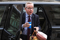 © Licensed to London News Pictures. 02/04/2019. London, UK. Secretary of State for Environment, Food and Rural Affairs Michael Gove arrives on Whitehall where Prime Minister Theresa May will chair both a political and regular Cabinet meeting today to try and agree a path forward with ministers. MPs voted to reject all alternatives to the Withdrawal Agreement for a second time. Photo credit: Rob Pinney/LNP