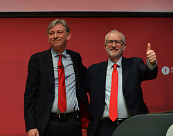 Scottish Labour leader Richard Leonard congratulated by Labour leader Jeremy Corbyn after delivering his keynote speech to the Scottish Labour spring conference 2019 in Dundee.<br /> <br /> &copy; Dave Johnston / EEm