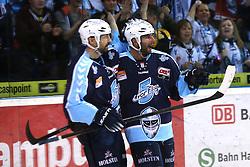 ICE HOCKEY: Germany, 1. DEL , Hamburg, 14.02.2014<br />Philippe Dupuis and Johan Ejdepalm (Hamburg Freezers) goal celebration<br />© pixathlon