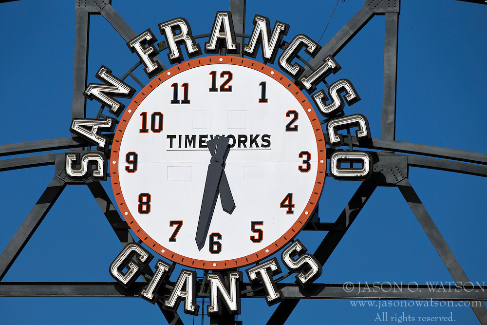 SAN FRANCISCO, CA - MAY 21: Detailed view of the San Francisco Giants clock displayed in the outfield before the game against the Washington Nationals at AT&T Park on May 21, 2013 in San Francisco, California. The San Francisco Giants defeated the Washington Nationals 4-2 in 10 innings. (Photo by Jason O. Watson/Getty Images) *** Local Caption ***