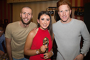 Katie Robertson, Monifieth Ladies under 15s players' player of the year pictured with Dundee United's Lewis Toshney and Simon Murray at Monifieth Ladies presentation evening at the Panmure Hotel, Monifieth - Photo: David Young, <br /> <br />  - &copy; David Young - www.davidyoungphoto.co.uk - email: davidyoungphoto@gmail.com