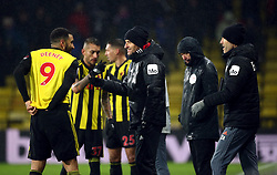 Watford manager Javi Gracia speaks to Troy Deeney during the Premier League match at Vicarage Road, Watford.