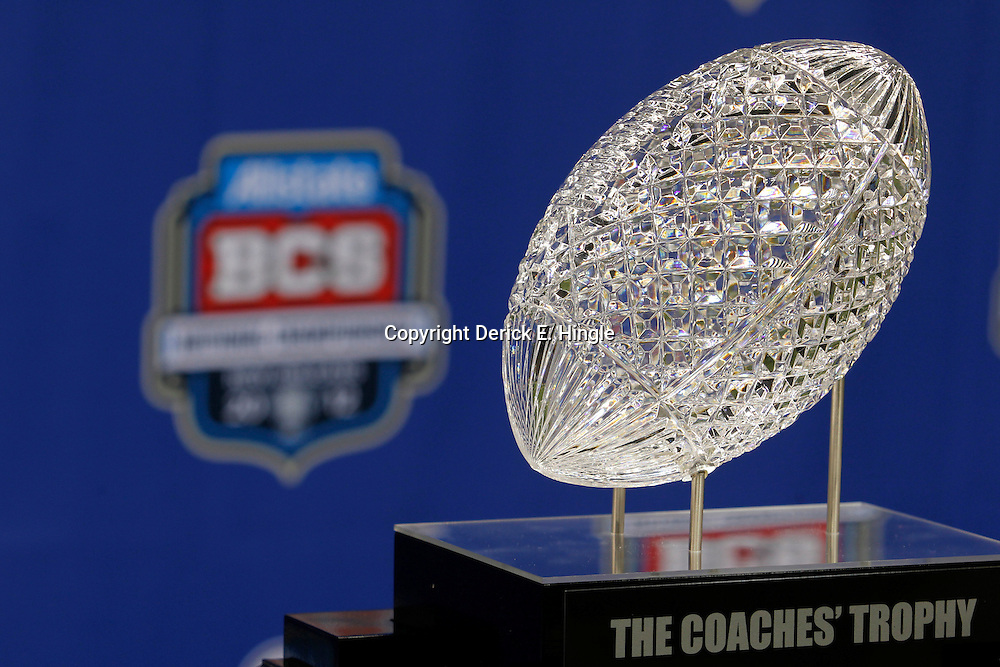 January 6, 2012; New Orleans, LA, USA; A detail of the crystal football that sits on top of The Coaches Trophy during Media Day for the 2012 BCS National Championship game to be played on January 9, 2012 between the LSU Tigers and the Alabama Crimson Tide at the Mercedes-Benz Superdome.  Mandatory Credit: Derick E. Hingle-US PRESSWIRE