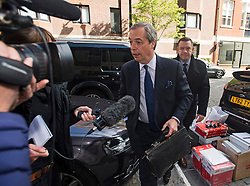 © Licensed to London News Pictures. 15/05/2015.  NIGEL FARAGE arriving at the UKIP party headquarters in Mayfair, London on May 15, 2015. Farage has been critiqued by members of the UKIP party after a u-turn on his decision to stand down as leader. Photo credit: Ben Cawthra/LNP