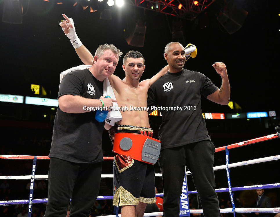 Jack Catterall (with team) defeats Nathan Brough for the Central Area Light Welterweight Title on 26th July 2014 at the Phones 4U Arena, Manchester. Promoted by Frank Warren. © Credit: Leigh Dawney Photography.