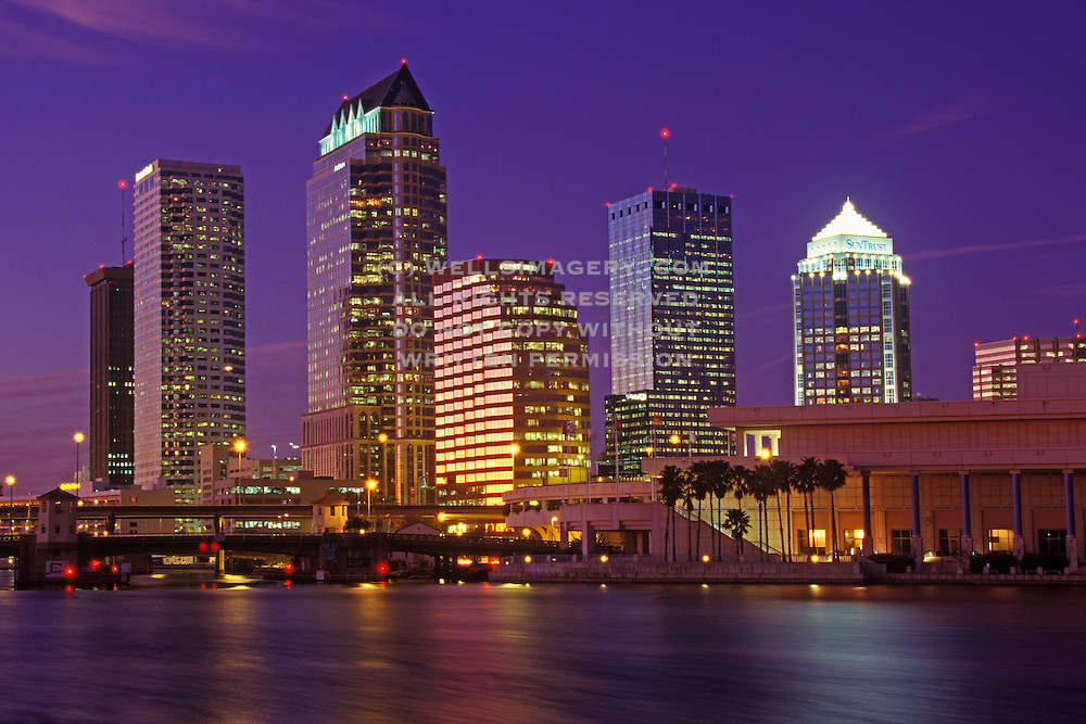 Image of the Tampa, Florida skyline and Hillsborough River at dusk, Tampa, Florida, American Southeast