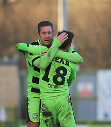 Forest Green Rovers's Elliott Frear celebrates his goal with Forest Green Rovers's Jonathan Parkin. - Photo mandatory by-line: Nizaam Jones - Mobile: 07966 386802 - 21/02/2015 - SPORT - Football - Nailsworth - The New Lawn - Forest Green Rovers v AFC Telford - Vanarama Football Conference
