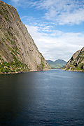 Steep sided glacial trough fiord, Trollfjorden, Lofoten Islands, Nordland, northern, Norway