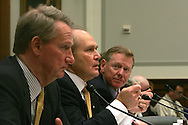 Big three auto makers CEO's testify before the House of Representatives Financial Services Committee on obtaining bail out money during the financial crisis on November 18, 2008. (left to right:  Rick Wagoner, General Motors, Robert Nardelli, Chrysler, Alan R. Mulally, Ford)  Photo by Dennis Brack