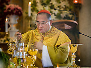 18 SEPTEMBER 2016 - BANGKOK, THAILAND: FRANCIS XAVIER KRIENGSAK, the Archbishop of Bangkok, leads100th anniversary mass at Santa Cruz Church. Santa Cruz Church was establised in 1769 to serve Portuguese soldiers in the employ of King Taksin, who reestablished the Siamese (Thai) empire after the Burmese sacked the ancient Siamese capital of Ayutthaya. The church was one of the first Catholic churches in Bangkok and is one of the most historic Catholic churches in Thailand. The first sanctuary was a simple wood and thatch structure and burned down in the 1800s. The church is in its third sanctuary and was designed in a Renaissance / Neo-Classical style. It was consecrated in September, 1916. The church, located on the Chao Phraya River, serves as a landmark for central Bangkok.       PHOTO BY JACK KURTZ