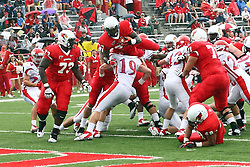 01 September 2012:  Over the pile for a touchdown is Darrelynn Dunn during an NCAA football game between the Dayton Flyers and the Illinois State Redbirds at Hancock Stadium in Normal IL