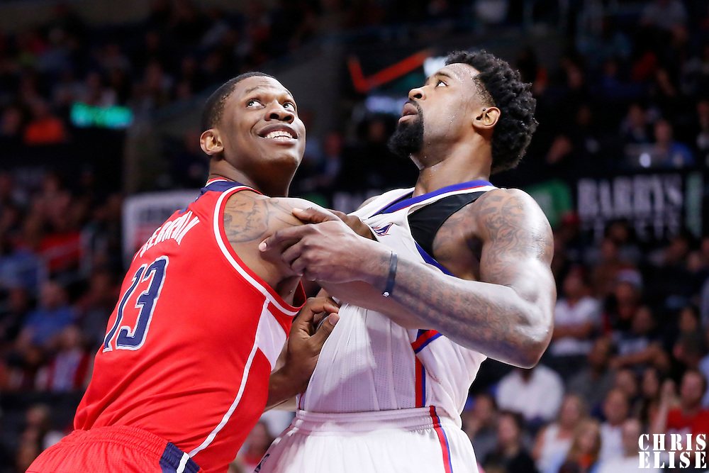 20 March 2015: Washington Wizards center Kevin Seraphin (13) vies for the rebound with Los Angeles Clippers center DeAndre Jordan (6) during the Los Angeles Clippers 113-99 victory over the Washington Wizards, at the Staples Center, Los Angeles, California, USA.