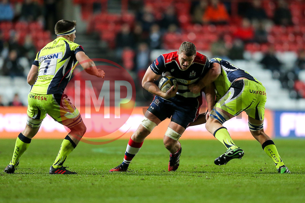 Ian Evans of Bristol Rugby is tackled by George Nott of Sale Sharks - Rogan Thomson/JMP - 11/11/2016 - RUGBY UNION - Ashton Gate Stadium - Bristol, England - Bristol Rugby v Sale Sharks - Anglo Welsh Cup.