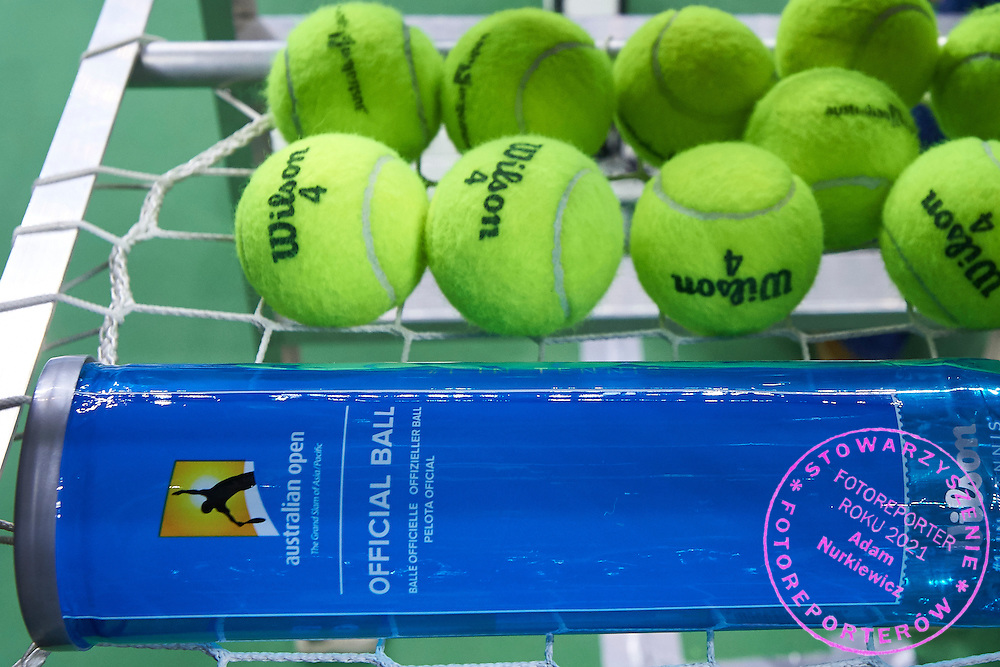 Wilson - official balls during Second Day of the Fed Cup / World Group 1st round tennis match between Poland and Russia at Tauron Krakow Arena on February 8, 2015 in Cracow, Poland.<br /> <br /> Poland, Cracow, February 8, 2015<br /> <br /> Picture also available in RAW (NEF) or TIFF format on special request.<br /> <br /> For editorial use only. Any commercial or promotional use requires permission.<br /> <br /> Adam Nurkiewicz declares that he has no rights to the image of people at the photographs of his authorship.<br /> <br /> Mandatory credit:<br /> Photo by &copy; Adam Nurkiewicz / Mediasport