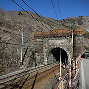Bardonecchia, Italy - january 2019: railway tunnel linking France with Italy, opened to rail traffic in 1871. It runs under the Monte Fréjus between the cities of Modane in France and the Bardonecchia