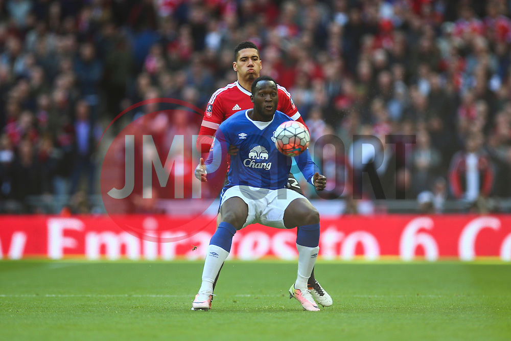 Romelu Lukaku of Everton under pressure from Chris Smalling of Manchester United - Mandatory byline: Jason Brown/JMP - 07966386802 - 23/04/2016 - FOOTBALL - Wembley Stadium - London, England - Everton v Manchester United - The Emirates FA Cup
