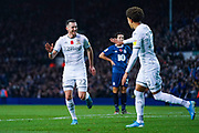 Leeds United midfielder Jack Harrison (22) scores a goal and celebrates with Leeds United forward Helder Costa (17) to make the score 2-0 during the EFL Sky Bet Championship match between Leeds United and Blackburn Rovers at Elland Road, Leeds, England on 9 November 2019.